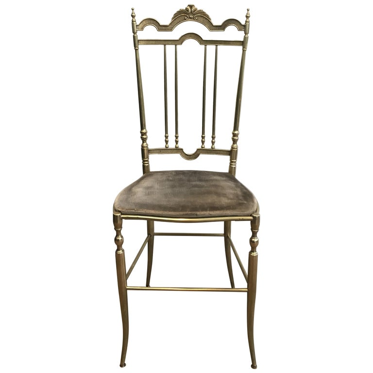 Rare Set of 4 Elegant Neoclassical Brass Chairs For Sale
