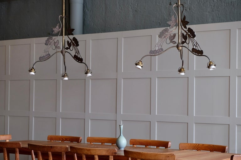 Listed price is for 1 (one) chandelier, 4 pieces available.  Original glass shades available. Lovely patina. New wiring.