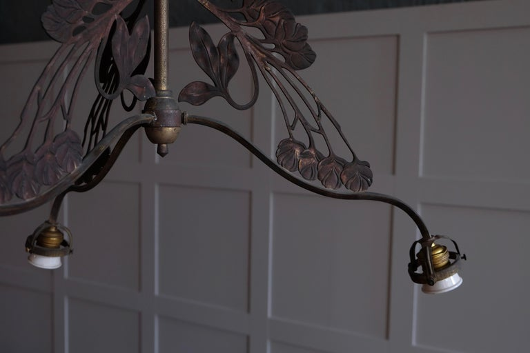 Rare set of 4 French Art Nouveau Chandeliers, circa 1900s In Good Condition For Sale In Stockholm, SE