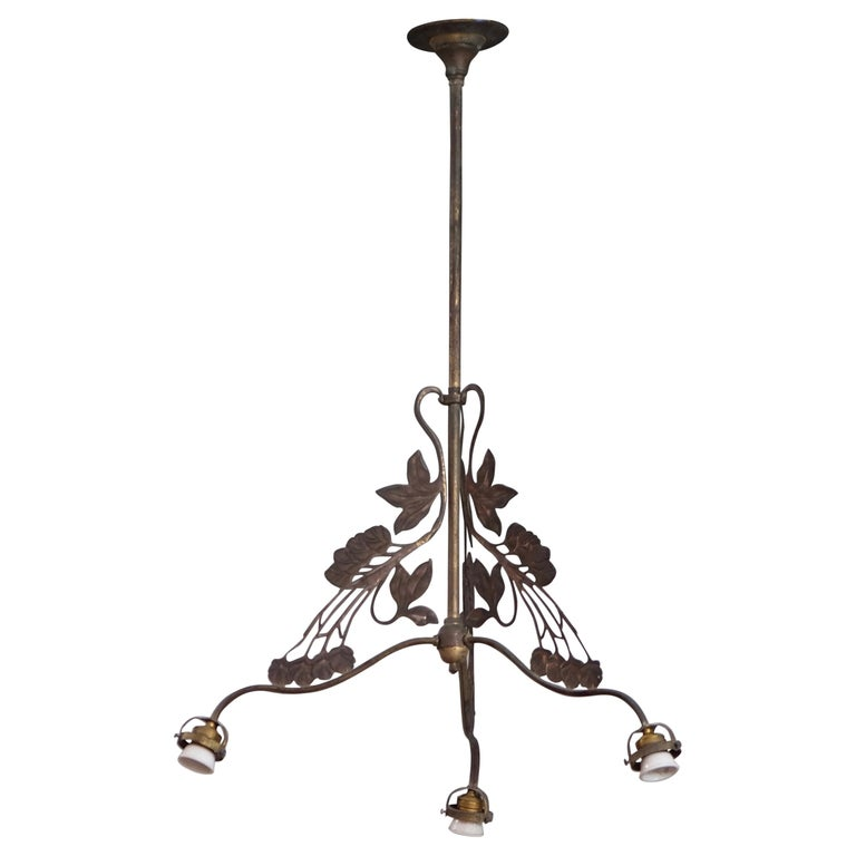 Rare set of 4 French Art Nouveau Chandeliers, circa 1900s For Sale