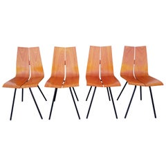 "Rare Set of 4 Hans Bellmann ""GA"" Chairs for Horgen Glarus, 1960s"