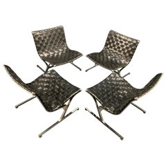 Rare Set of 4 Lounge Chairs by Ross Littell by ICF / Milano