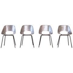 Rare Set of 4 Pierre Guariche Tulip 'Tulipe' Cast Aluminum Chairs, 1950s, France