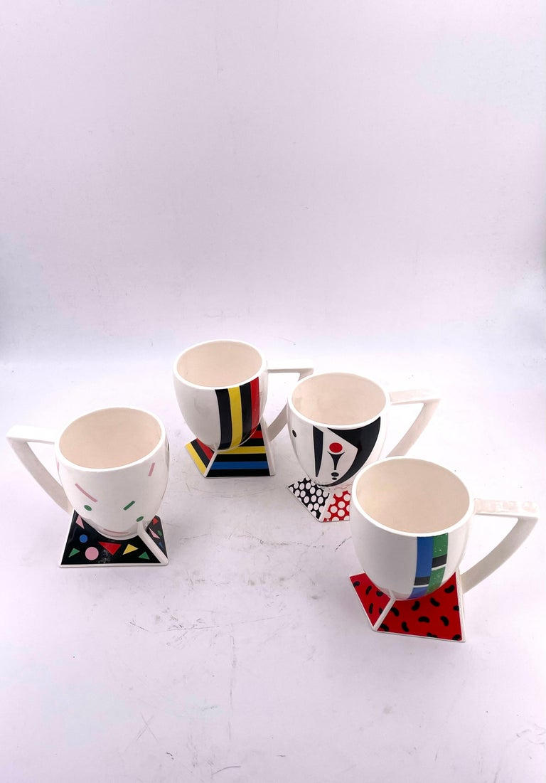 Great and rare set of 4 cups designed by Kato Kogei, Japan Alpha - 3 Fujimori Collection, great condition never used circa 1980s, Memphis.