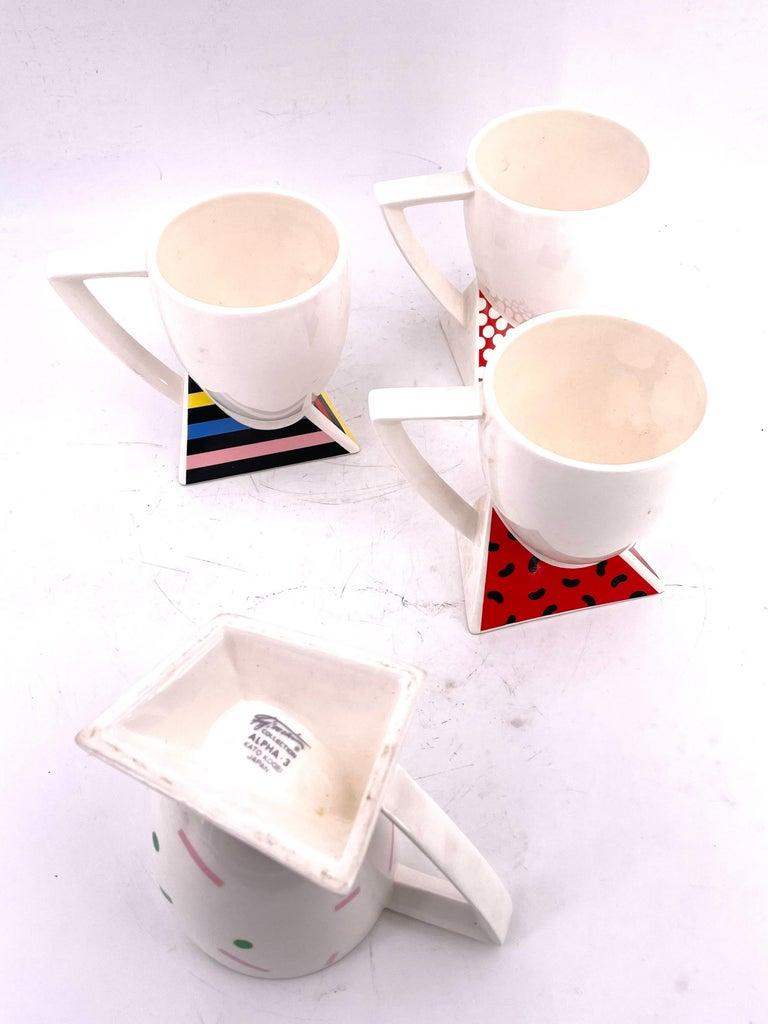 Post-Modern Rare Set of 4 Porcelain Cups Design by Kato Kogei Postmodern Memphis Japan For Sale