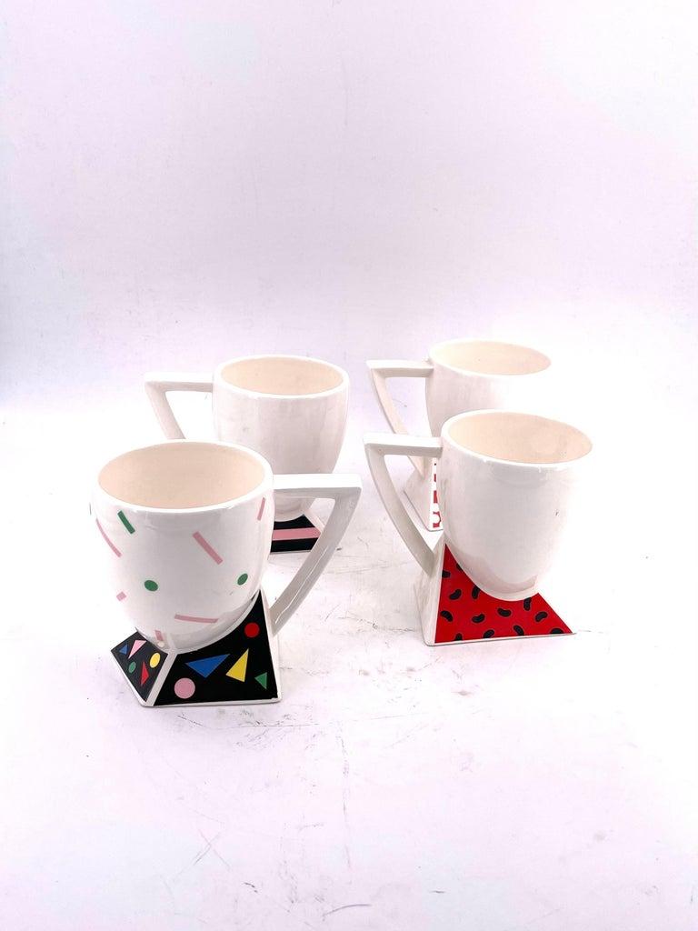 Japanese Rare Set of 4 Porcelain Cups Design by Kato Kogei Postmodern Memphis Japan For Sale