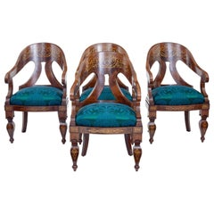 Rare Set of 4 Regency Period Inlaid Mahogany Lounge Chairs
