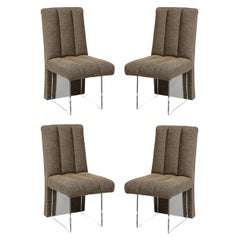 """Rare Set of 4 Signed Vladimir Kagan Channeled """"Clos"""" Chairs in Holly Hunt Fabric"""