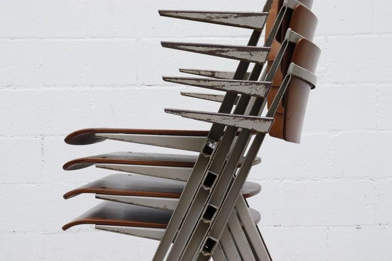 Rare Set of 4 Wim Rietveld 'Pyramid' Armchairs For Sale 2
