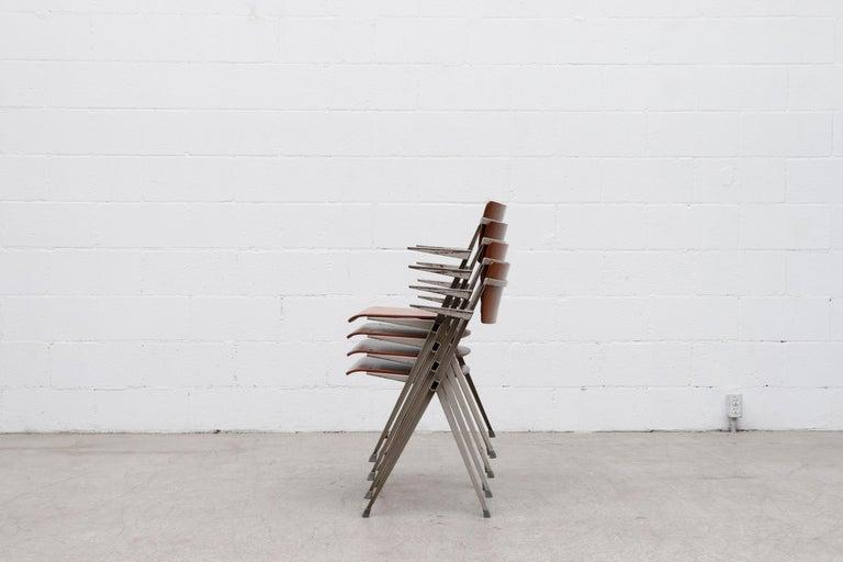 Mid-Century Modern Rare Set of 4 Wim Rietveld 'Pyramid' Armchairs For Sale