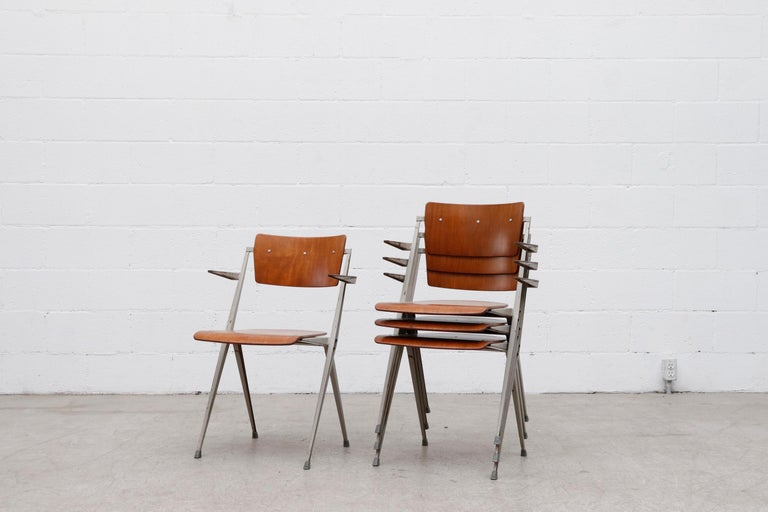 Enameled Rare Set of 4 Wim Rietveld 'Pyramid' Armchairs For Sale