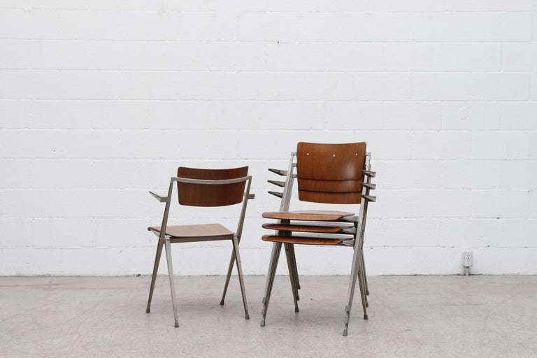 Rare Set of 4 Wim Rietveld 'Pyramid' Armchairs In Good Condition For Sale In Los Angeles, CA