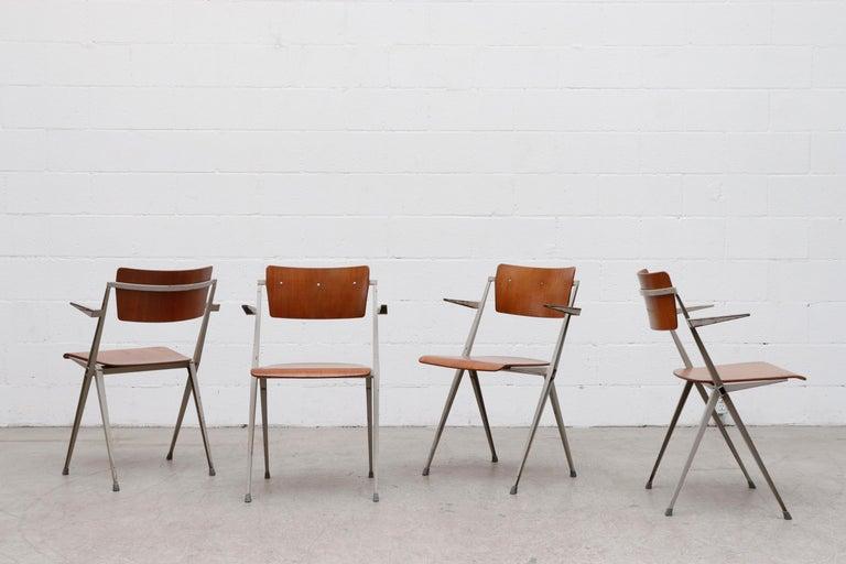 Metal Rare Set of 4 Wim Rietveld 'Pyramid' Armchairs For Sale