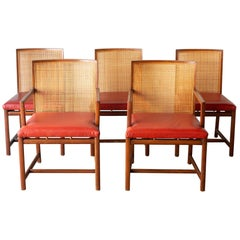 "Rare Set of 5 Michael Taylor for Baker ""Floating"" Cane Dining Chairs, circa 1960"