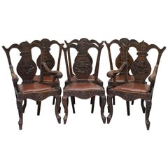 Rare Set of 6 circa 1890 Chinese Export Dining Chairs with Chimera Dragons Etc