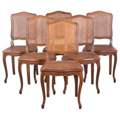 Rare Set of 6 Country French Caned Chairs, circa 1940