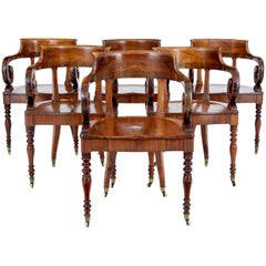 Rare Set of 6 Mid-19th Century Danish Walnut Captains Chairs