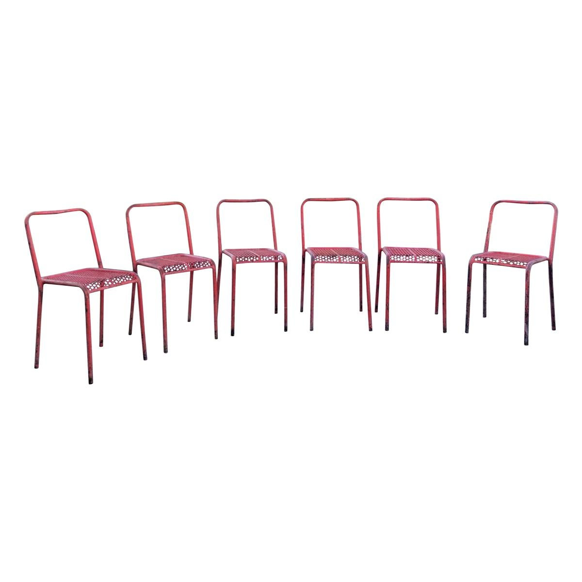 Rare Set of 6 Red René Malaval Post War Brutalist Chairs, France, 1940s