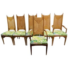 Rare Set of 6 Rush High Back Dining Chairs Attributed to Kipp Stewart