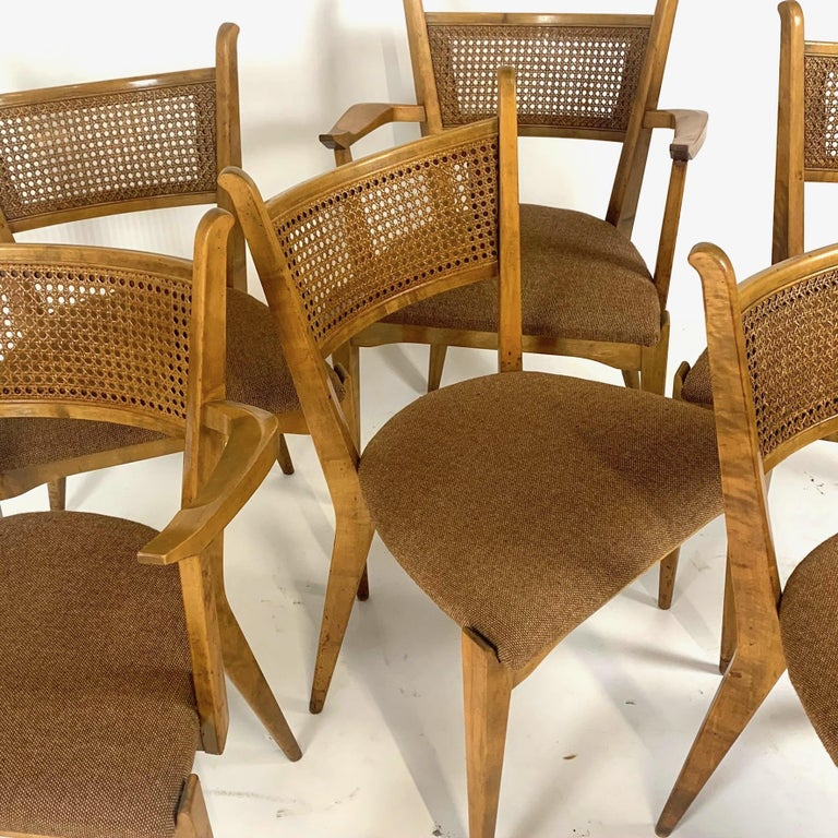 Rare Set of 6 Swedish Modern Cane Back Sculptural Dining Chairs by Edmond Spence For Sale 4