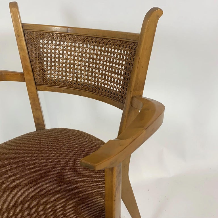 Rare Set of 6 Swedish Modern Cane Back Sculptural Dining Chairs by Edmond Spence For Sale 5