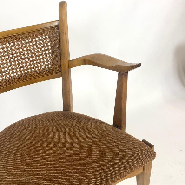 Rare Set of 6 Swedish Modern Cane Back Sculptural Dining Chairs by Edmond Spence For Sale 6