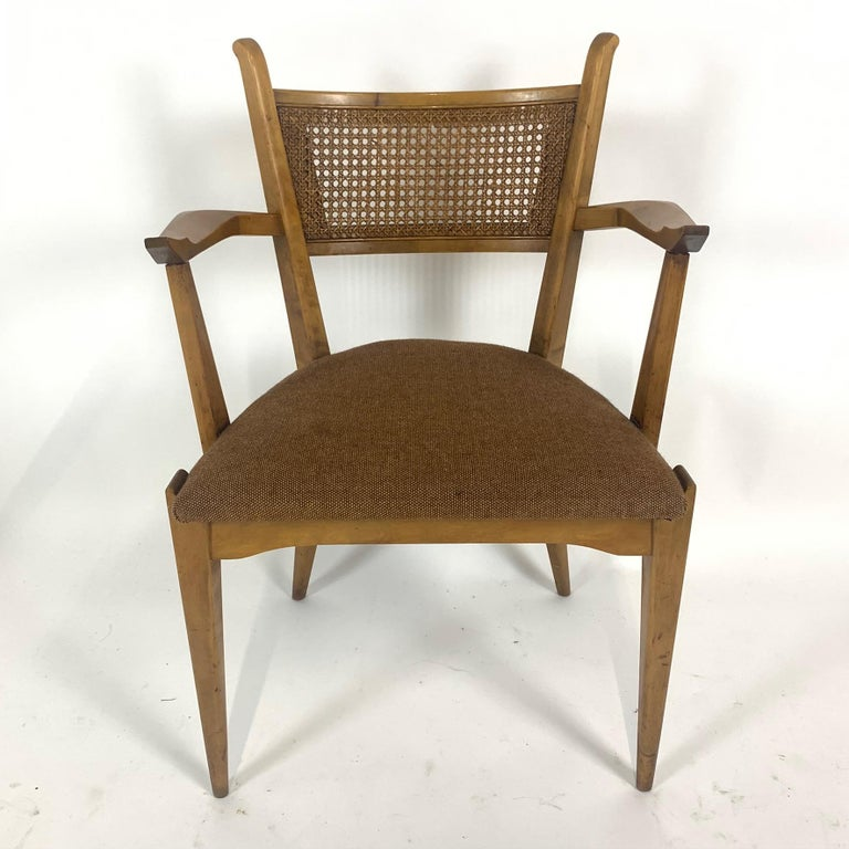 Rare Set of 6 Swedish Modern Cane Back Sculptural Dining Chairs by Edmond Spence For Sale 7