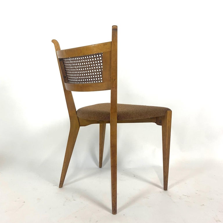 Rare Set of 6 Swedish Modern Cane Back Sculptural Dining Chairs by Edmond Spence For Sale 8