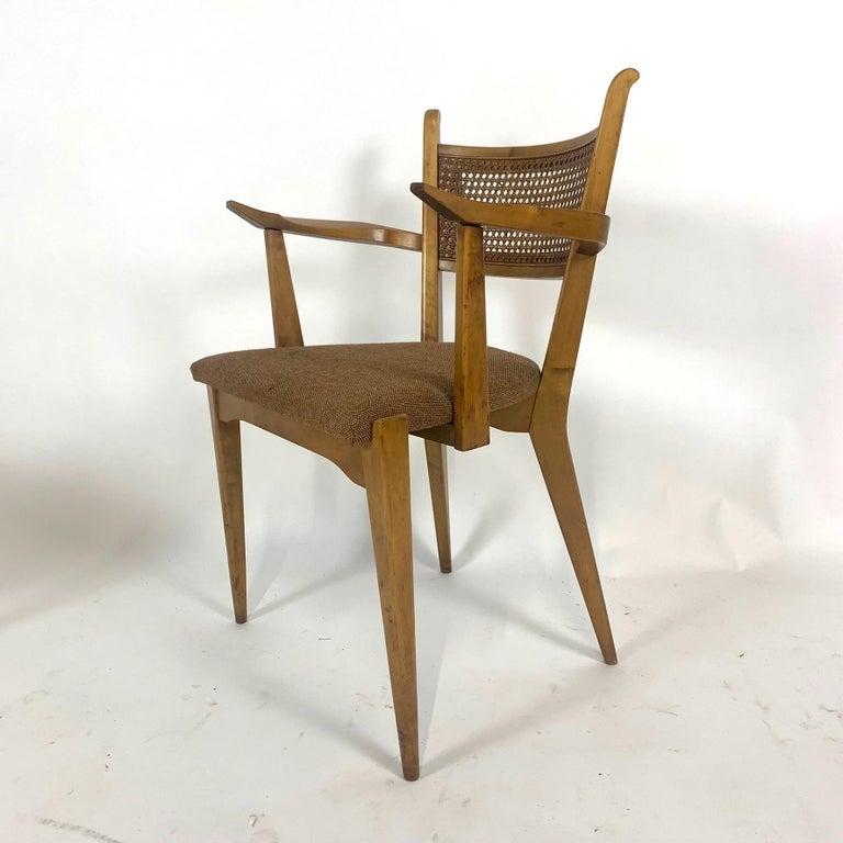 Scandinavian Modern Rare Set of 6 Swedish Modern Cane Back Sculptural Dining Chairs by Edmond Spence For Sale
