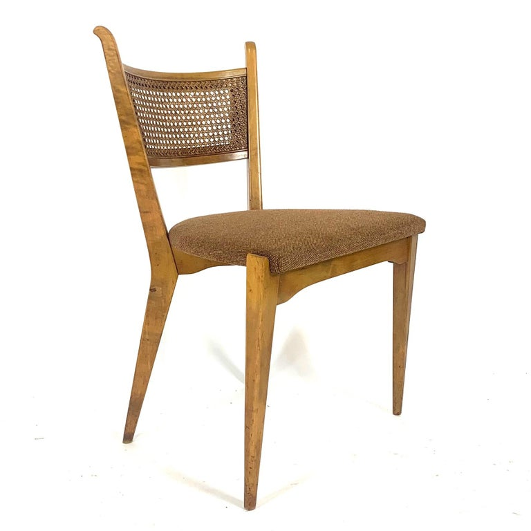 Rare Set of 6 Swedish Modern Cane Back Sculptural Dining Chairs by Edmond Spence In Good Condition For Sale In Hudson, NY