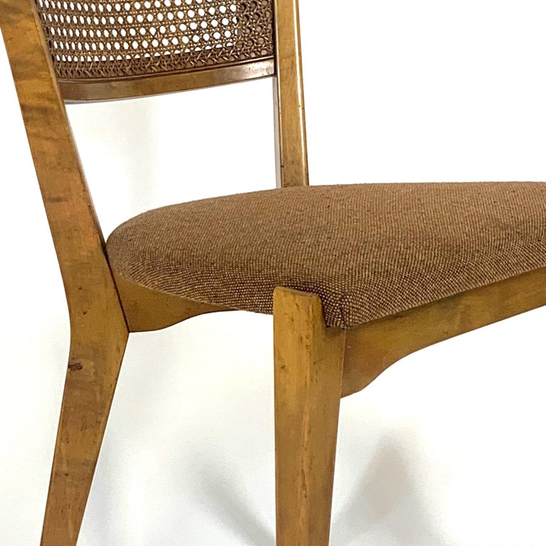 Mid-20th Century Rare Set of 6 Swedish Modern Cane Back Sculptural Dining Chairs by Edmond Spence For Sale