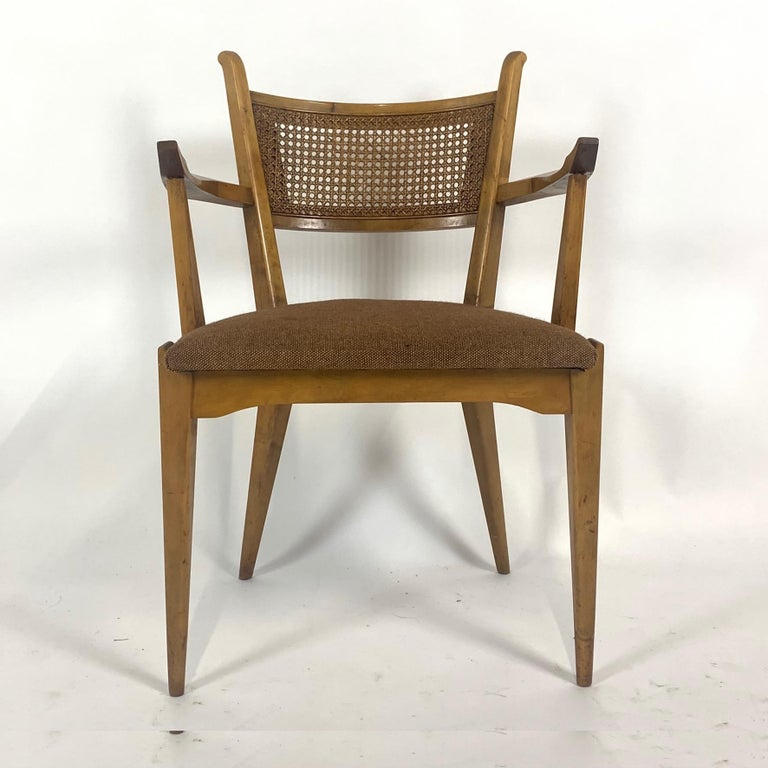 Wool Rare Set of 6 Swedish Modern Cane Back Sculptural Dining Chairs by Edmond Spence For Sale