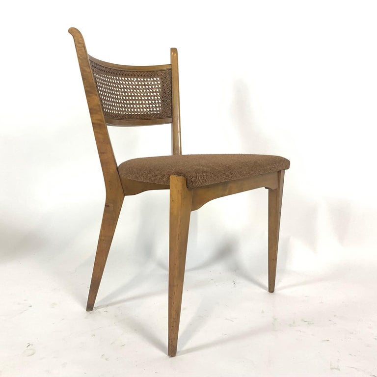 Rare Set of 6 Swedish Modern Cane Back Sculptural Dining Chairs by Edmond Spence For Sale 1