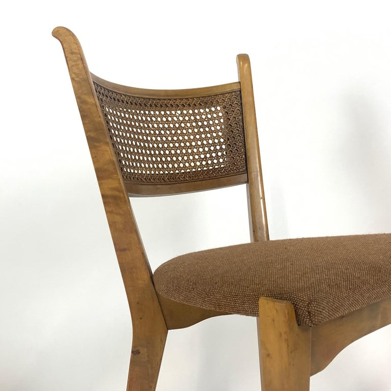 Rare Set of 6 Swedish Modern Cane Back Sculptural Dining Chairs by Edmond Spence For Sale 2