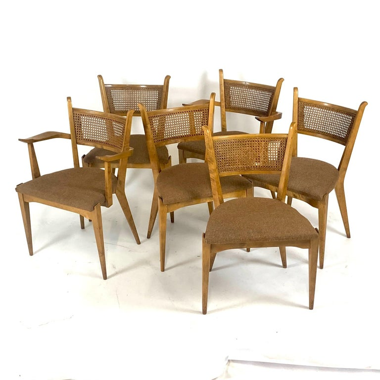 Rare Set of 6 Swedish Modern Cane Back Sculptural Dining Chairs by Edmond Spence For Sale 3