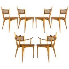 Rare Set of 6 Swedish Modern Cane Back Sculptural Dining Chairs by Edmond Spence