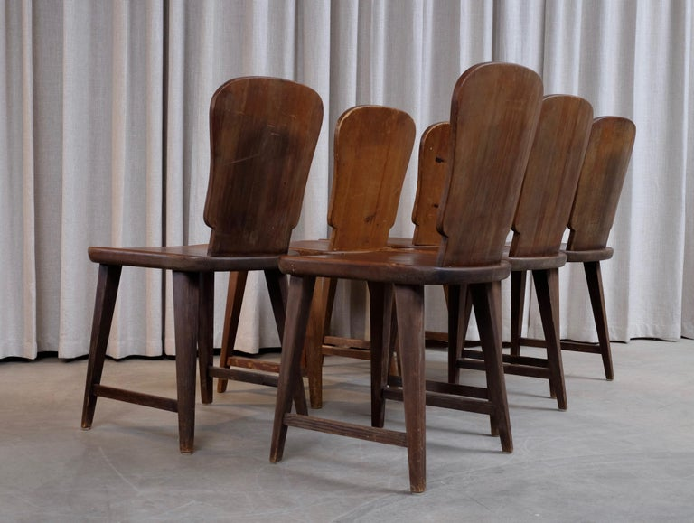 Rare Set of 6 Swedish Pine Chairs, 1940s For Sale 6