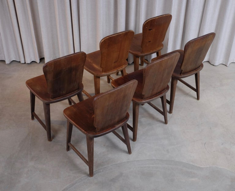 Mid-20th Century Rare Set of 6 Swedish Pine Chairs, 1940s For Sale