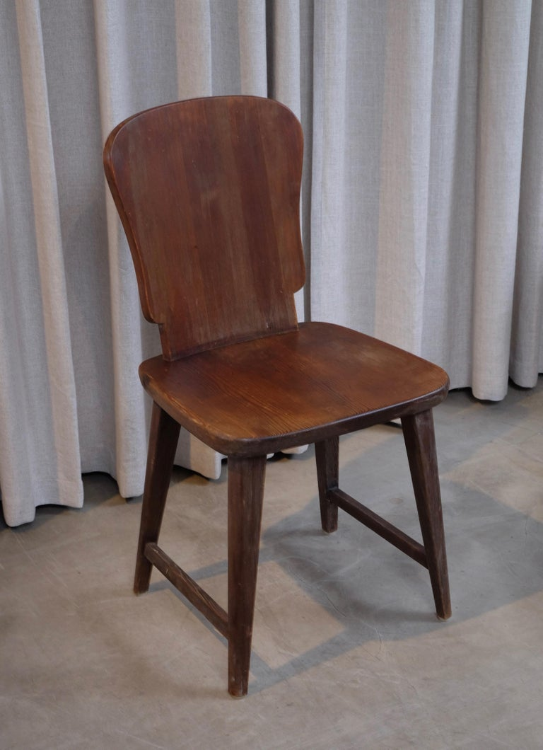 Rare Set of 6 Swedish Pine Chairs, 1940s For Sale 8