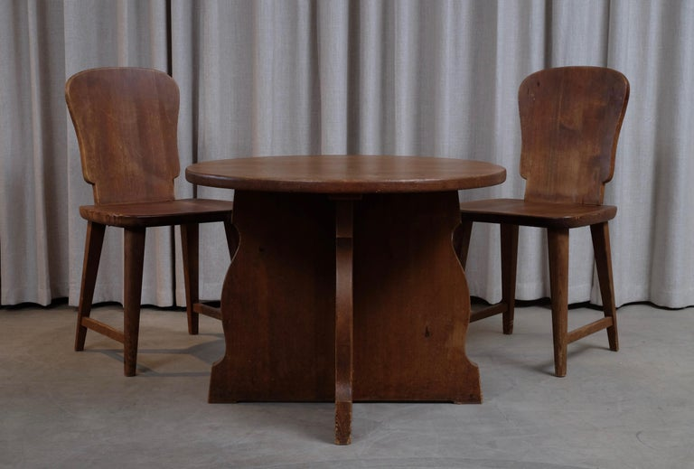 Rare Set of 6 Swedish Pine Chairs, 1940s For Sale 10