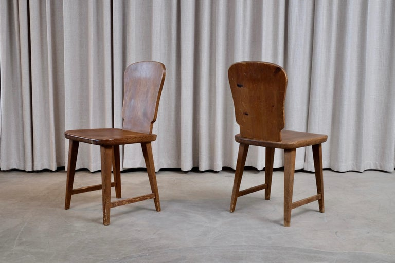 Rare Set of 6 Swedish Pine Chairs, 1940s For Sale 7