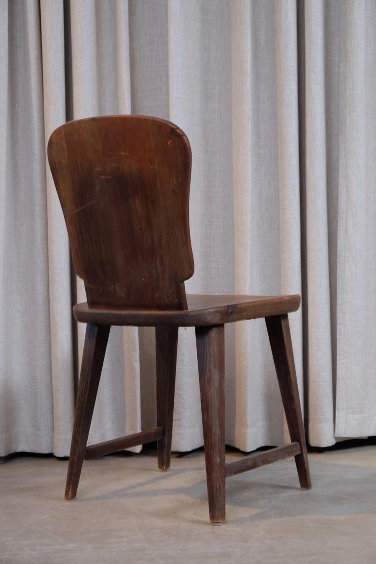 Rare Set of 6 Swedish Pine Chairs, 1940s In Good Condition For Sale In Stockholm, SE