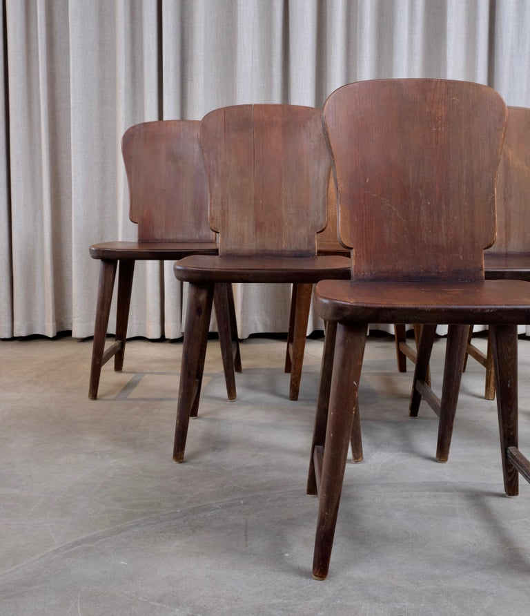 Rare Set of 6 Swedish Pine Chairs, 1940s For Sale 1