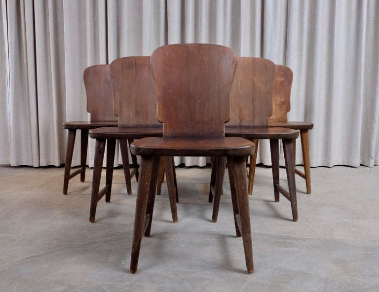 Rare Set of 6 Swedish Pine Chairs, 1940s For Sale 9