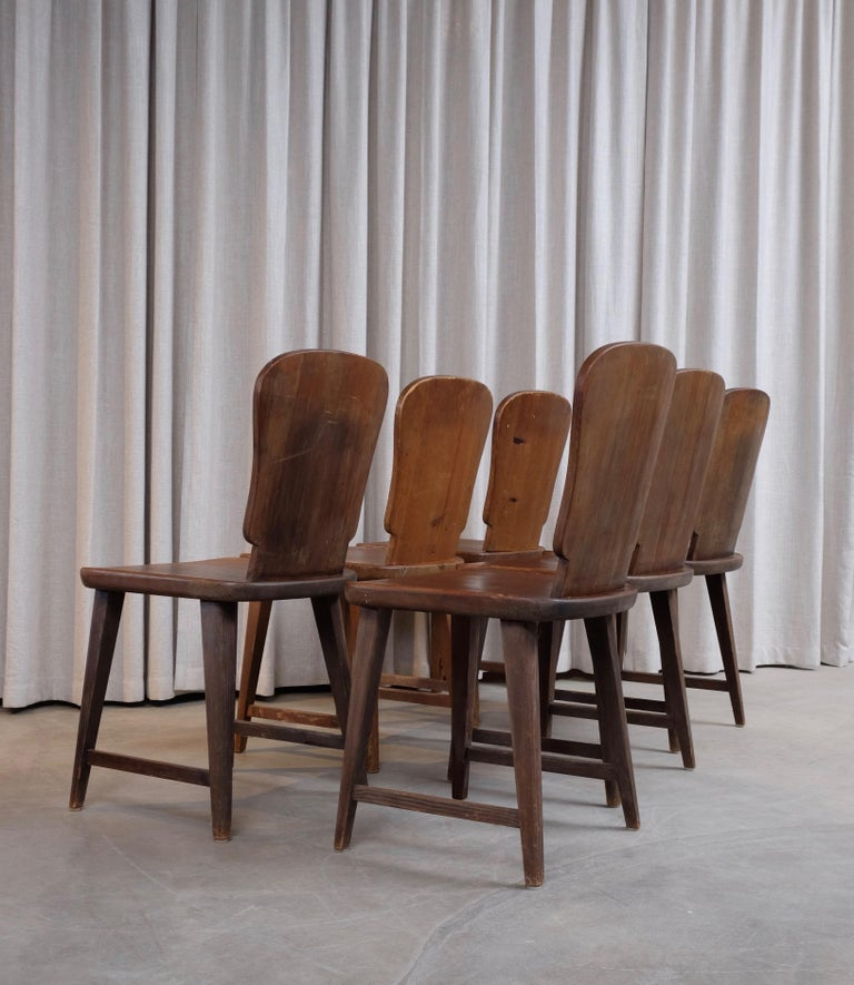 Rare Set of 6 Swedish Pine Chairs, 1940s For Sale 2