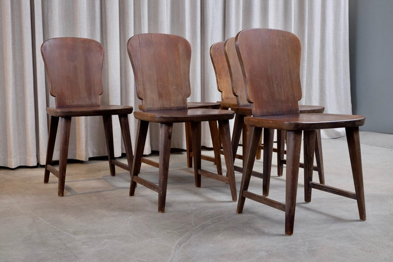 Rare Set of 6 Swedish Pine Chairs, 1940s For Sale 3