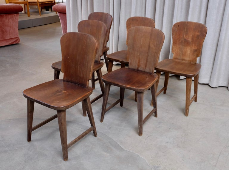 Rare Set of 6 Swedish Pine Chairs, 1940s For Sale 5