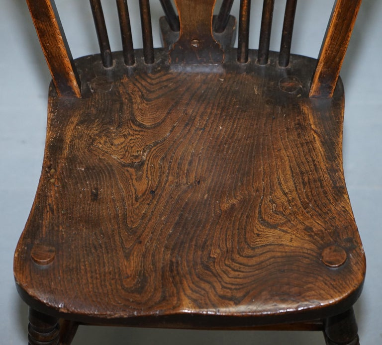 Rare Set of 6 Victorian 1840 Hoop Back Windsor Chairs High Wycombe, England For Sale 6