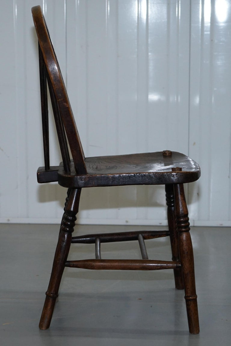 Rare Set of 6 Victorian 1840 Hoop Back Windsor Chairs High Wycombe, England For Sale 1