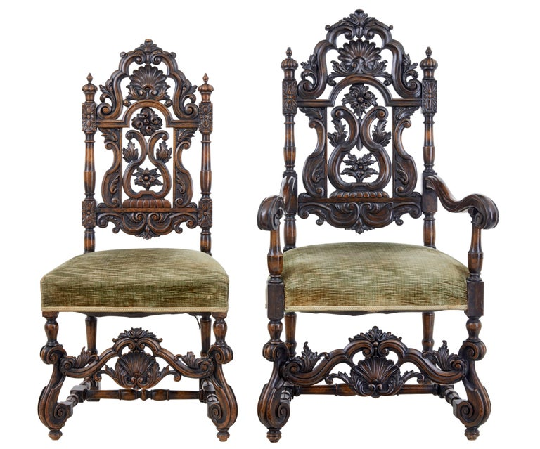 British Rare Set of Eight 19th Century Carved Walnut Carolean Design Dining Chairs For Sale